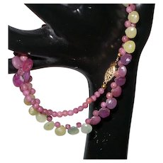 Pink and Yellow Sapphire Briolette Neckalce with 14 Karat Gold Filled Clasp