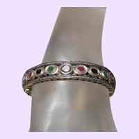 Natural Diamond, Ruby, Sapphire and Emerald Bangle in 14 Karat Gold Vermeil