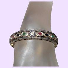 Natural Diamond, Ruby, Sapphire and Emerald Bangle in 14 Karat Gold Vermeil