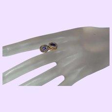 Blue Kynite Stud Earrings with Brown Diamonds in 14 Karat Vermeil