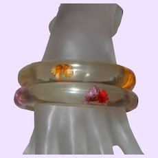 Two Clear Lucite Bangles