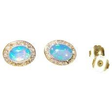 Ethiopian Opal and Diamond Stud Earrings in 14 Karat Vermeil