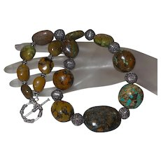 Large Chinese Turquoise Neckalce with Bali Silver
