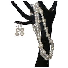 Single Strand Pearl Necklace With CZ Inserts