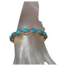 Stunning Estate Sleeping Beauty Turquoise Bangle with Diamonds