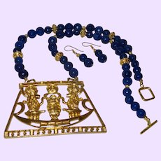 Blue Agate Necklace with Egyptian Revival Pendant