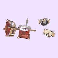 Red Garnet Stud Earrings in a Square Setting