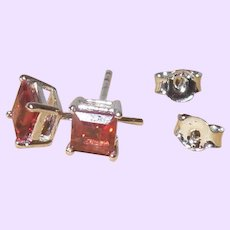 Red Garnet Stud Earrings in a Square Setting