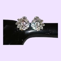 Stunning Eisenberg Clip Rhinestone Earrings