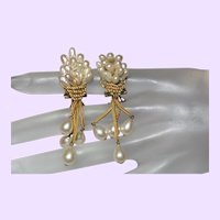 Signed France Cultured Pearl Dangle Earrings