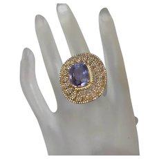 Large Fluorite and Diamond Ring