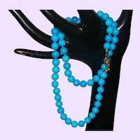 Hand Knotted Faux Sleeping Beauty Turquoise Necklace