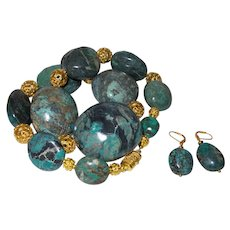 Chinese Turquoise Nugget Necklace in Blues and Browns With Earrings