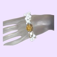Miriam Haskell Milk Glass Bracelet with Original Hang Tag