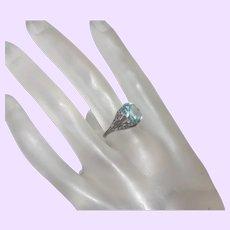 Art Deco Aquamarine Ring in Silver