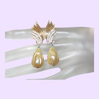 Hattie Carnegie Faux Pearl Dangle Earrings