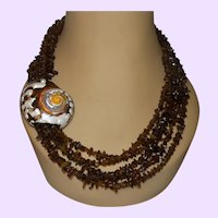 Five Strand Baltic Amber Necklace with Hand Painted Shell