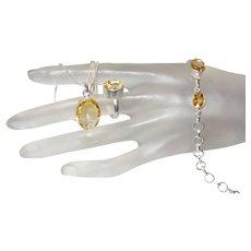 Citrine Pendant, Ring and Bracelet Set in Silver