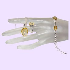 Citrine Pendant, Ring and Bracelet Set in Silver
