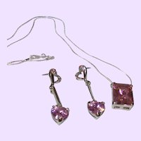 Vintage Pink Ice Dangle Earrings with Pendant and Chain