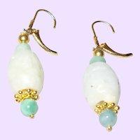 Lovely 14KYGF Lever Back Burmese Jade Dangle Earrings