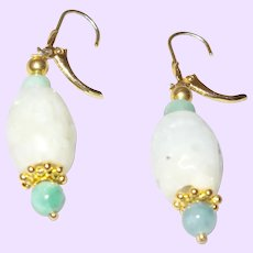 Lovely 14KYGF Lever Back Burmese Jade Dangle Earrings