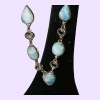 Ethnic Blue Larimar Necklace With Blue Topaz Stones
