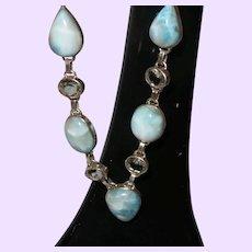 Ethnic Blue Larimar Necklace With Blue Topaz Stones