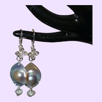 Natural Mabé Blister Pearl Dangle Earrings