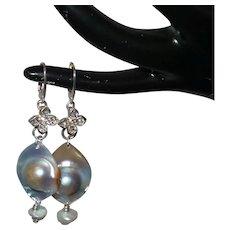 Natural Mabé Blister Pearl Dangle Earrings