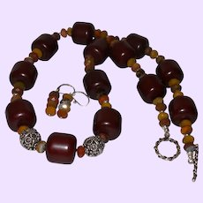 Barrel Amber with Faceted Jasper Rhondells