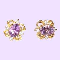 Vintage Amethyst and Rhinestone Stud Earrings