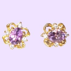 Vintage Amethyst and Rhinestone Stud Earrings