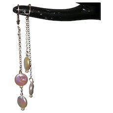 Cultured Coin Pearl Dangle Earrings On Silver