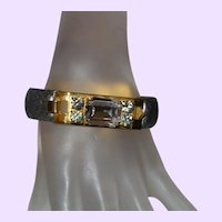 Signed Mannelli Florence Leather Bracelet with Rhinestones
