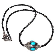 Persian Turquoise Pendant With Black Diamonds and Onyx