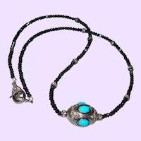 Sleeping Beauty Turquoise Pendant With Black Diamonds and Onyx