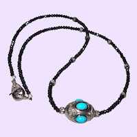 Treated Blue Turquoise Pendant With Black Diamonds and Onyx