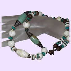 Ethnic Turquoise, Bone Necklace with Coral and Silver Beading