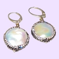 Cultured Dangle Coin Pearl Earring