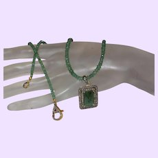 Emerald Necklace with Emerald and Diamond Pendant