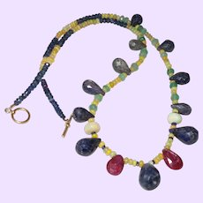 Ethiopian Opal, Sapphire, Ruby and Emerald Necklace with 14 KYG Clasp