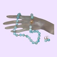 Hand Knotted Larimar Necklace with 14 Karat 1/20th Gold Clasp