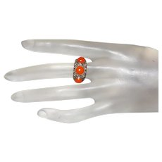 Three Stone Mediterranean Coral Ring Set in Silver
