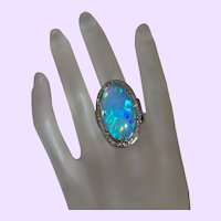 Ethnic Style Ethiopian Opal and Diamond Ring Set in Oxide Silver
