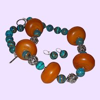 Large Honey Colored Amber Necklace with Turkish Handmade Blue Beads