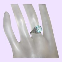 Art Deco Faux Aquamarine Ring In Silver