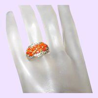Coral Ring With Rhinestones Signed JC