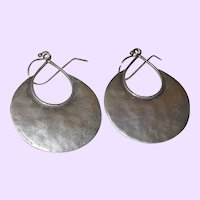 Signed Israel Vintage Hammered Sterling Silver Earrings
