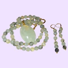 Prehnite Necklace with Pendant and 14 Karat Gold Plate Spacers